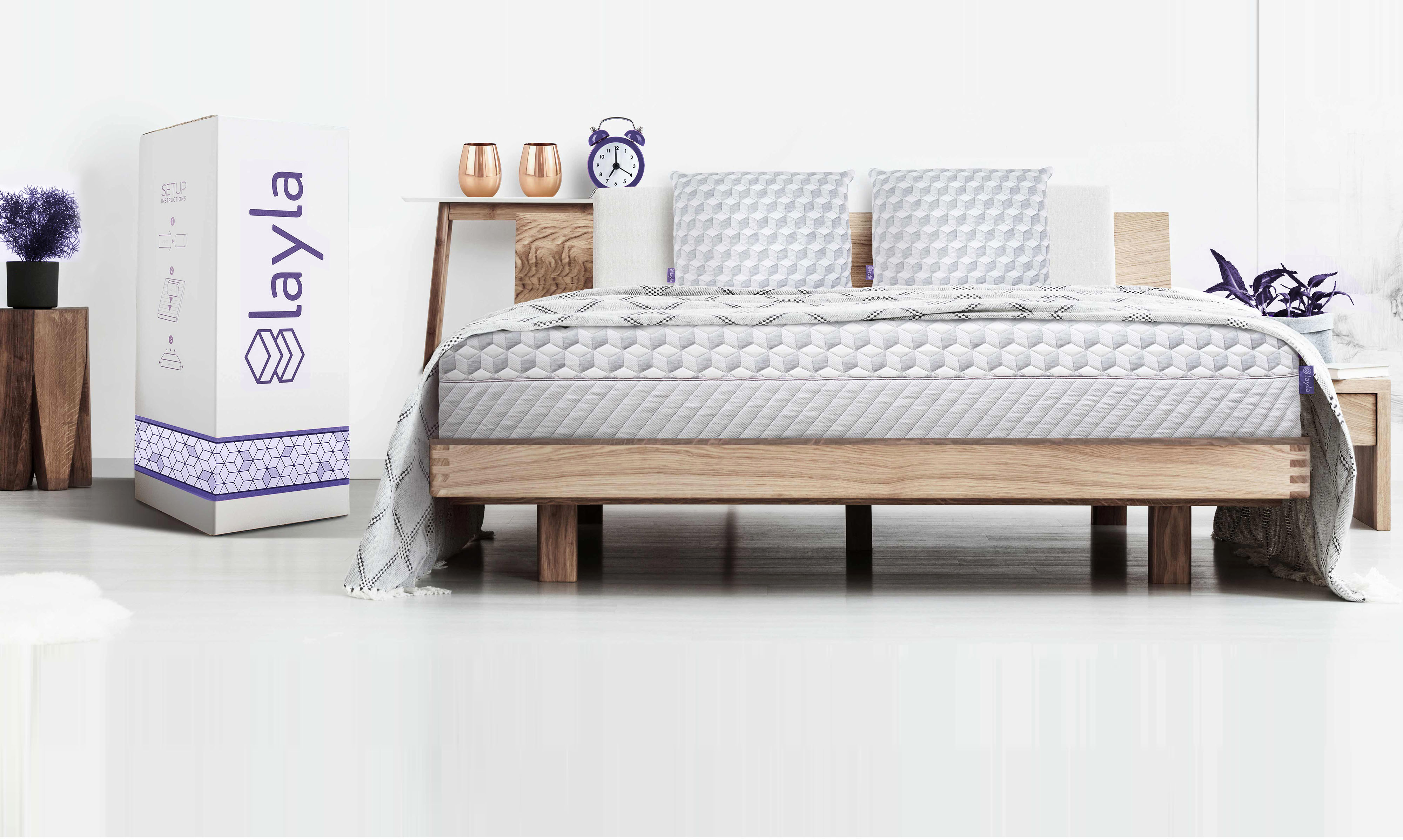 copper infused memory foam mattress layla sleep - Mattress Without Box Spring