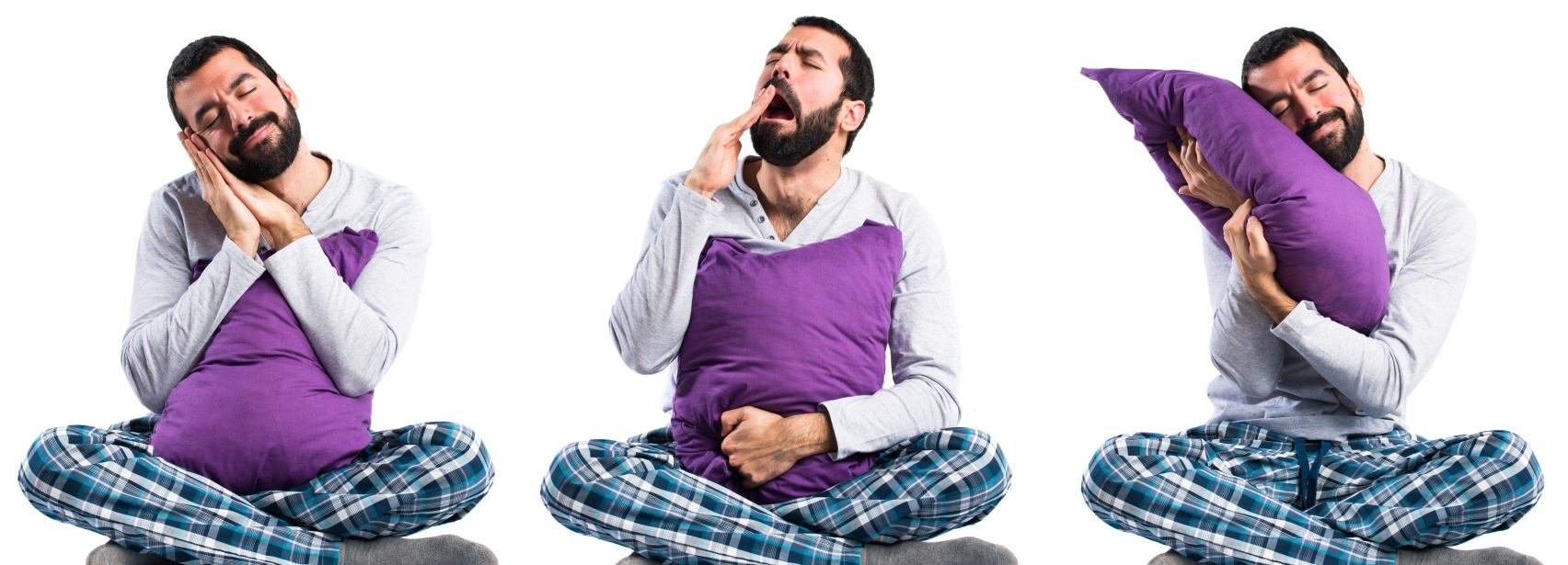 Pajamas Affect Sleep: Man in pajamas yawning