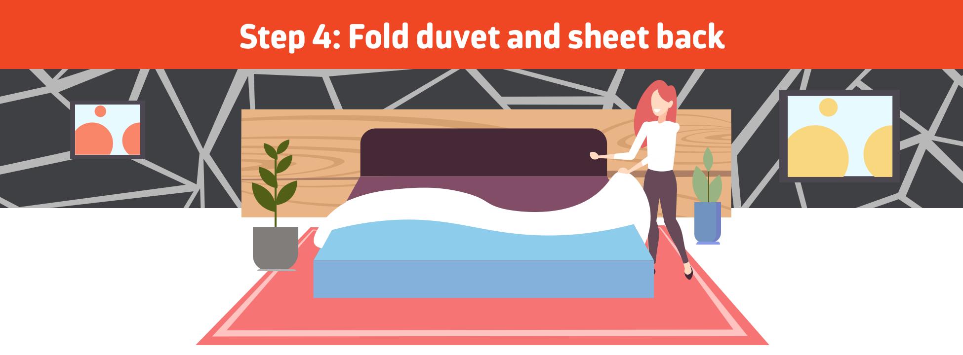 Fold duvet and sheet back